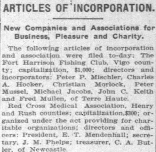 1903 Christian Morlock - ARTICLES OFiNCORPORATION. New Companies and...