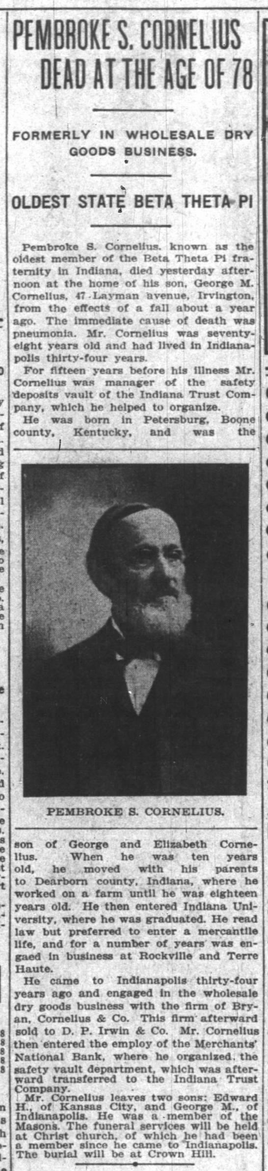 Pembroke S. Cornelius - obituary -