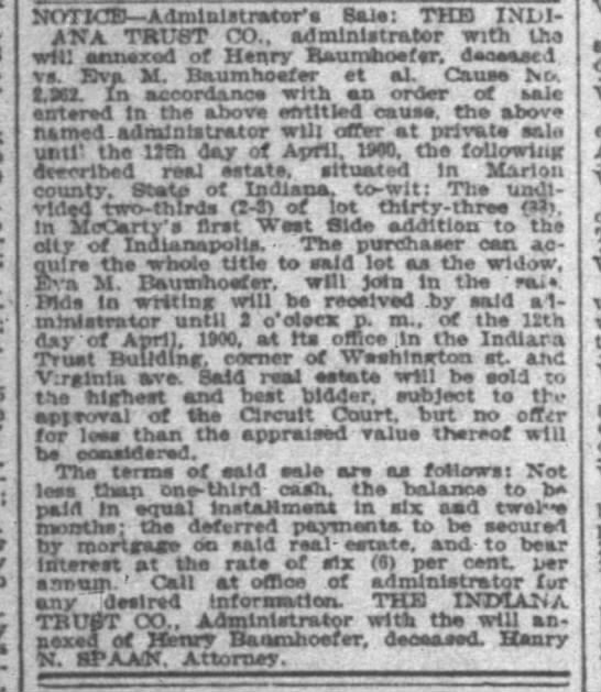 The Indianapolis News 24 Mar 1900 page 14 col 2 re Baumhofer estate -