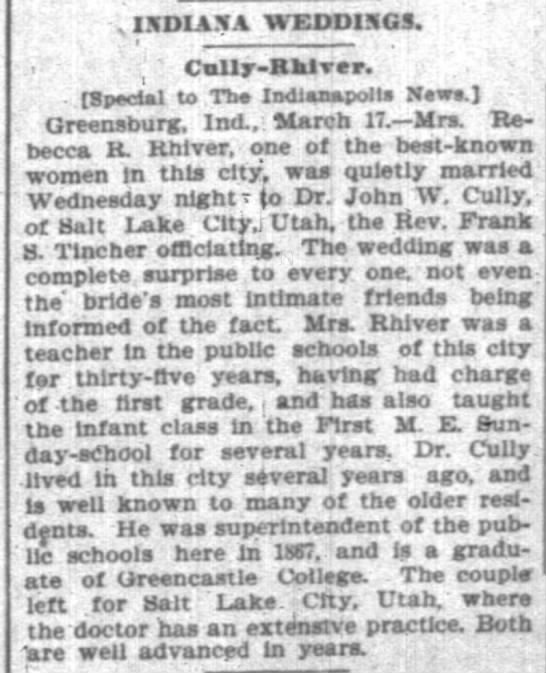 Cully-Rhiver Wedding; The Indianapolis News; 1899-03-17 -