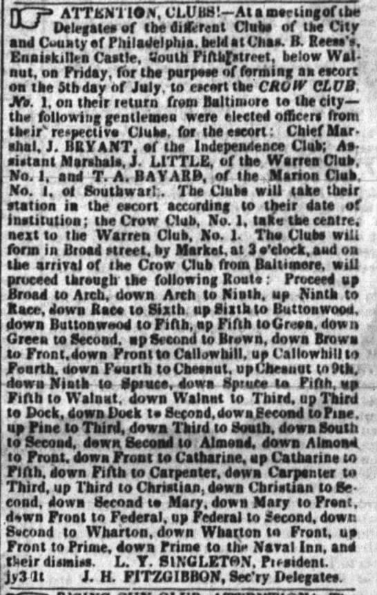 Lemuel's Clubs 1838 -