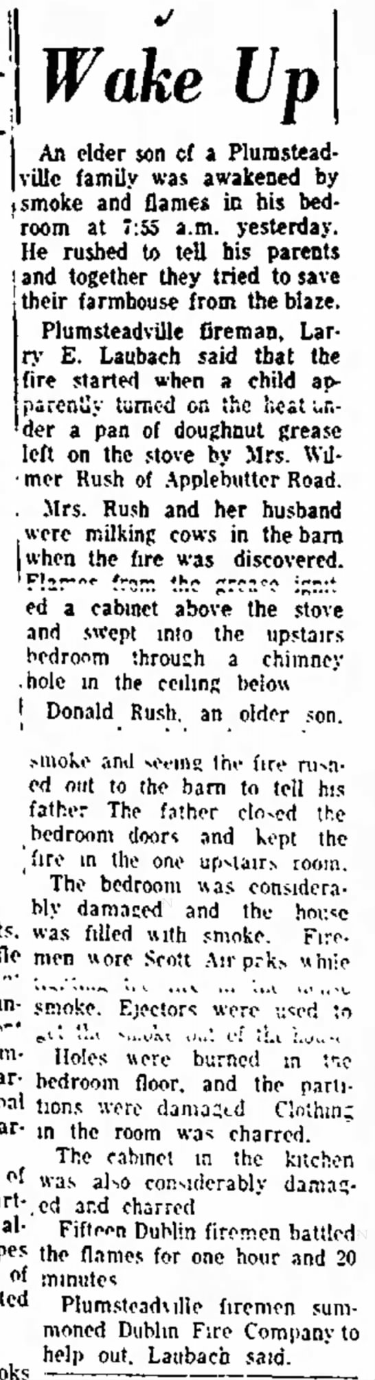 M/M Wilmer Rush - fire at house 