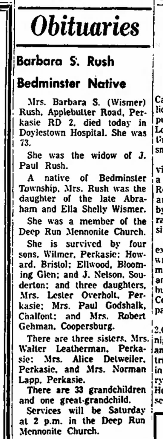 Barbara S. Wismer Rush obituary Daily Intell. 24 May 1972 pg 2 -