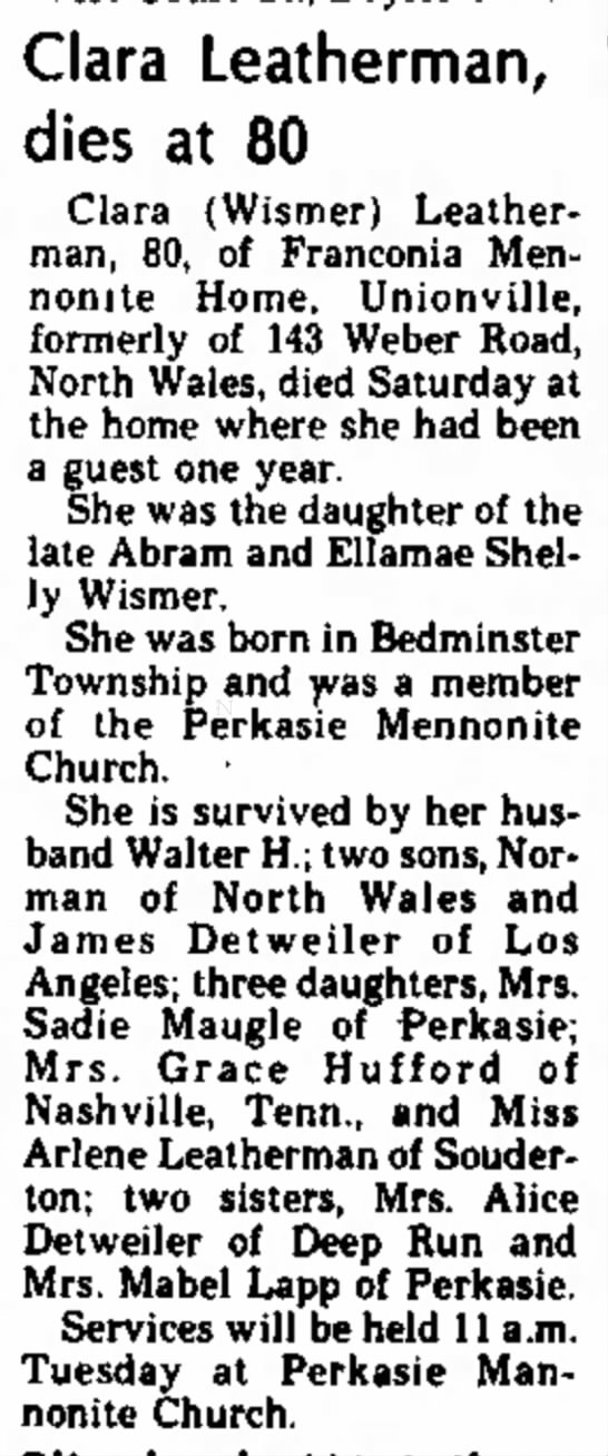 Clara Wismer Leatherman Obituary The Daily Intelligencer, 12 Aug 1974, page 4 -