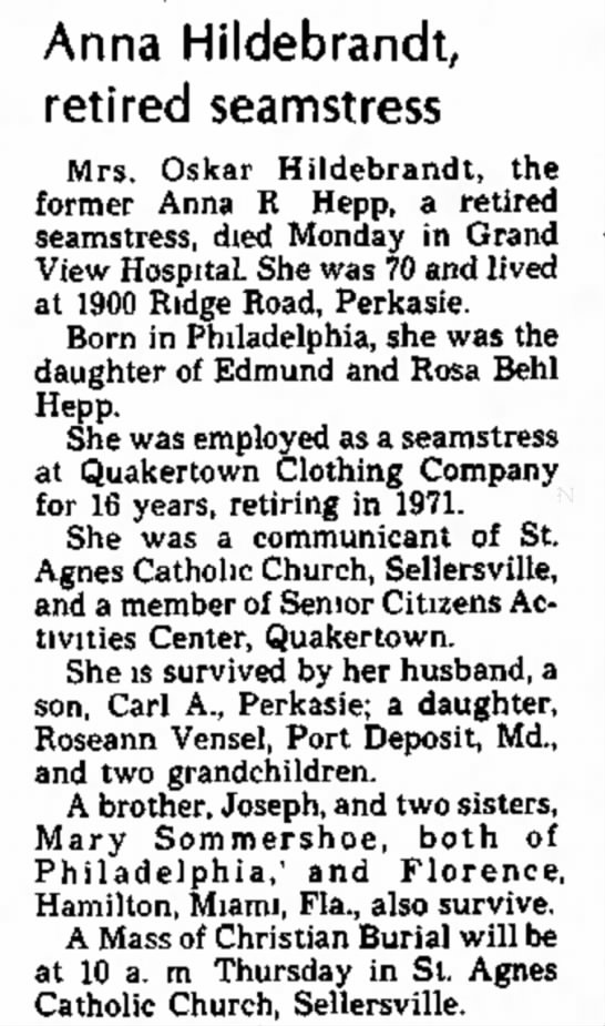 Anna R. Hepp Hildebrandt Obit - The Daily Intelligencer, 26 Oct 1976, page 3 -