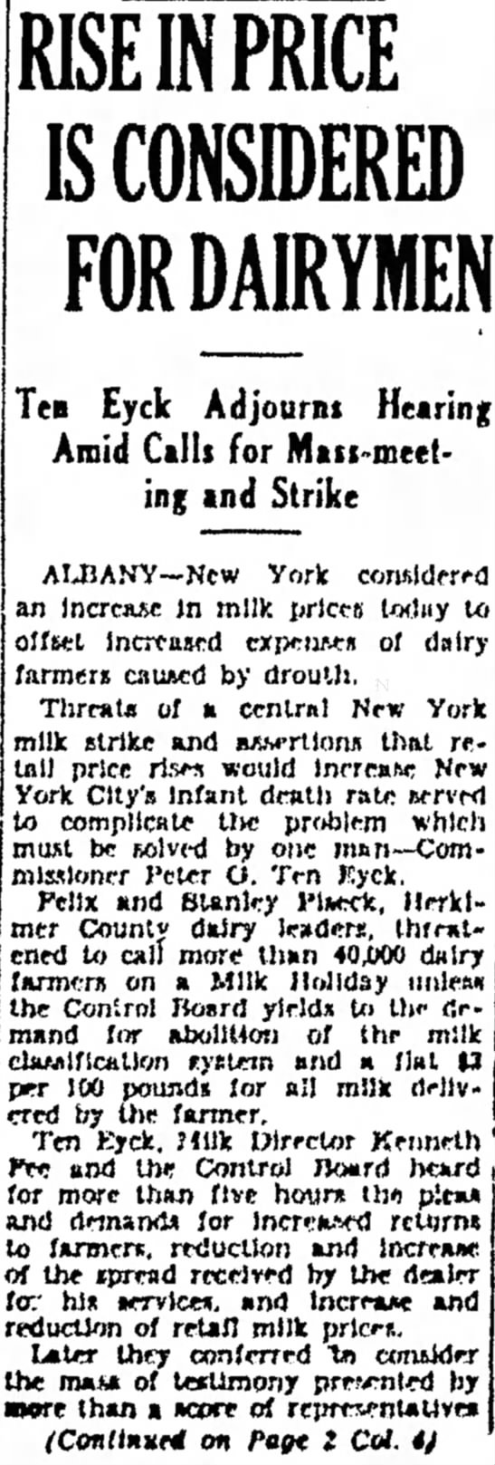 Rise In Price is Considered for Dairymen page 1 -