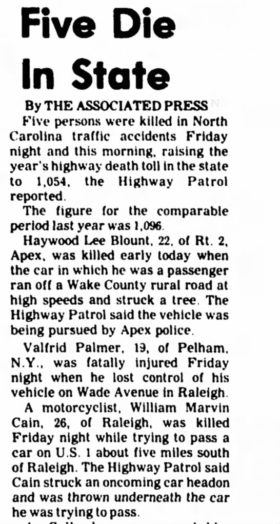 William Marvin Cain Killed in Accident-Statesville Record and Landmark 1 Oct 1977 Page 10 -
