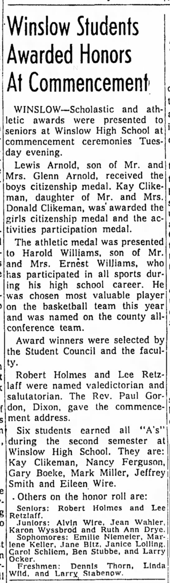 Freeport Journal-Standard, 31 May 1956, Winslow Students Awarded Honors At Commencement -