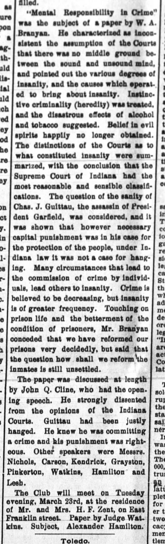 Mental responsibility in crime 3.12.1897 -