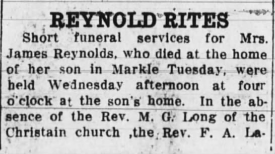 Mrs. James Reynolds Rites -