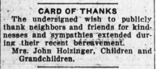 Thank You Note for Sympathies Received after John Holzinger Death -