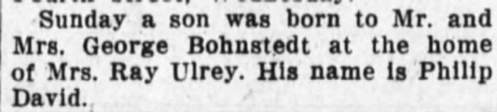 Phillip David Bohnstedt birth--The Huntington Herald, Huntington, Indiana--6 Mar 1929 -