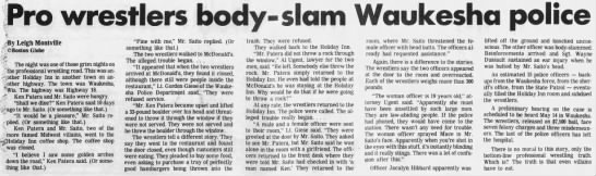 Pro wrestlers body-slam Waukesha police (Boston Globe syndicated to WI State Journal 4/21/1984) -