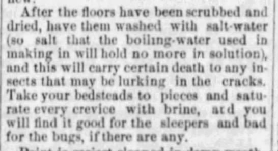 Cleaning floors and beds to kill bugs (1872) -