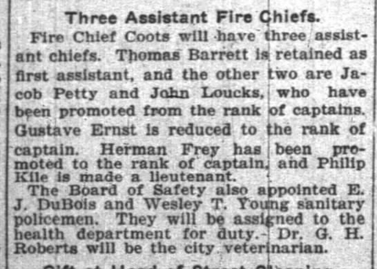 herman frey - - Three Assistant Fire Q hiefs. Fire Chief...