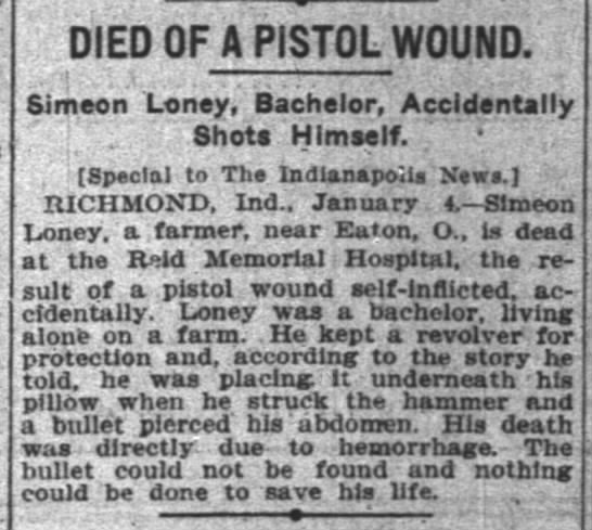Simeon Loney Death 1906 -