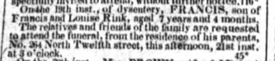 Rink Francis OBIT 1852 -