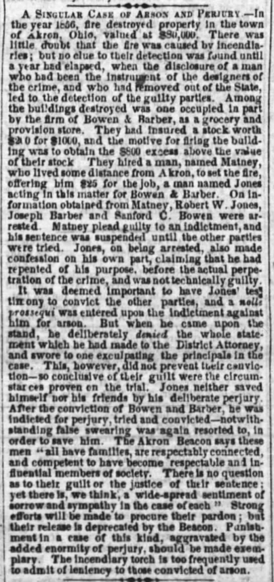UNNAMED MATNEY, AKRON, OH 1856 Arson Case -