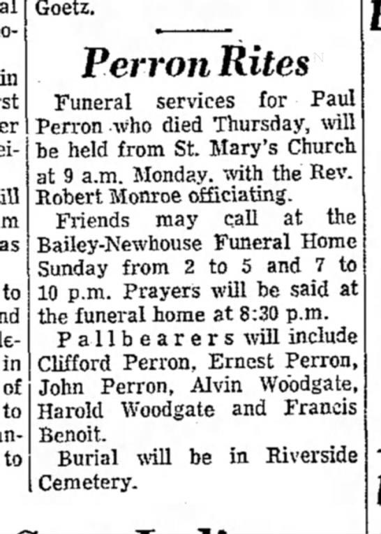 - Goetz. Perron Rites Funeral services for Paul...