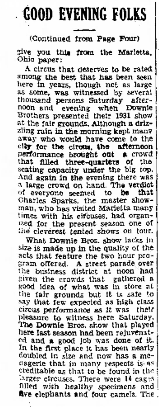 Sparks Downie P25-13-1931 - GOOD EVENING FOLKS (Continued from Page Four)...