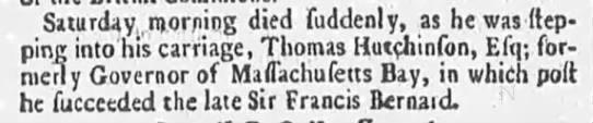 England paper announces the death of Thomas Hutchinson -