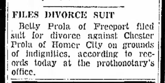 - FILES DIVORCE SUIT Belly Prola of Freeport...