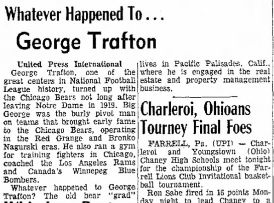 Whatever Happened To . . . George Trafton -