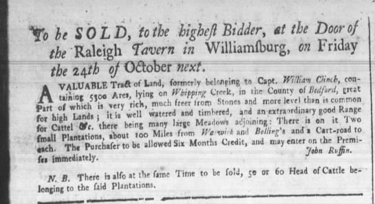 September 12, 1755 - 5300 Acres in Bedford County, -