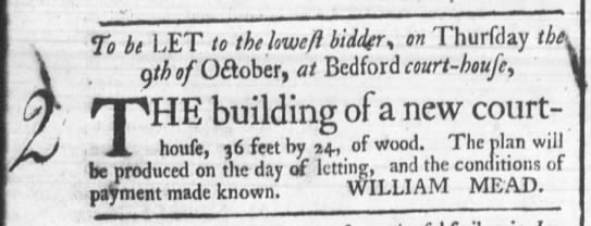 August 15, 1766 - The Building of A New Bedford Courthouse -