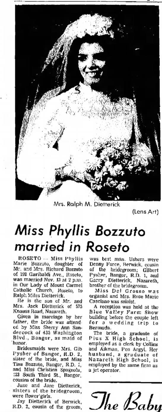 Mr & Mrs Ralph M Dietterick, Pocono Record, 24 Nov 1971, Page 10 -