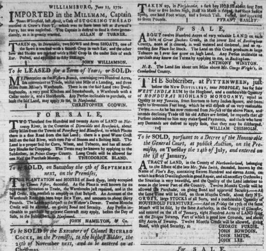 John Bowdoin Virginia Land Purchase - i , WILLIAMSBURC, Junt II, 177a. IMPORTED in...