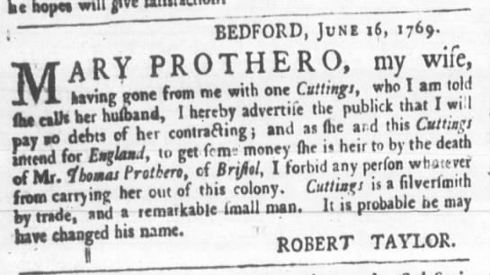 July 6, 1769 - Wife of Robert Taylor - Bedford -
