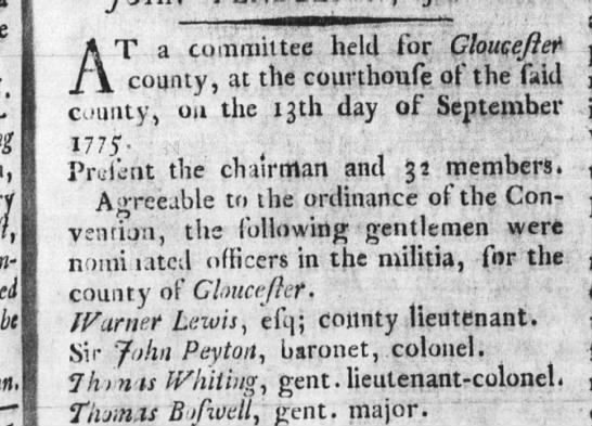 Purdie's VA Gazette Williamsburg, VA 13 Oct 1775 -