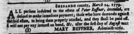 Mary Ruffner in 1779 -