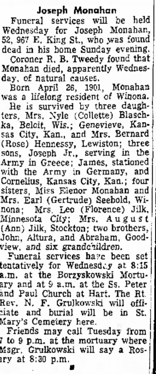 Winona Republican Herald; 1 March 1954 - Joseph Monahan Funeral services will be held...