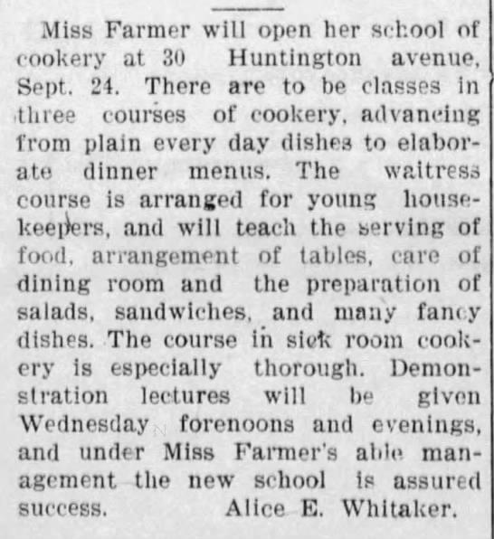Miss Farmer's school of cookery -