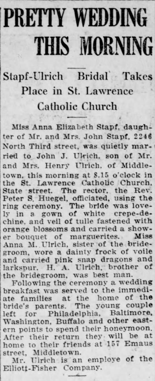 Stapf Ulrich Wedding - Harrisburg Telegraph - June 20 1918 -