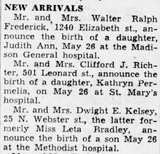Birth announcements for May 31, 1938 -