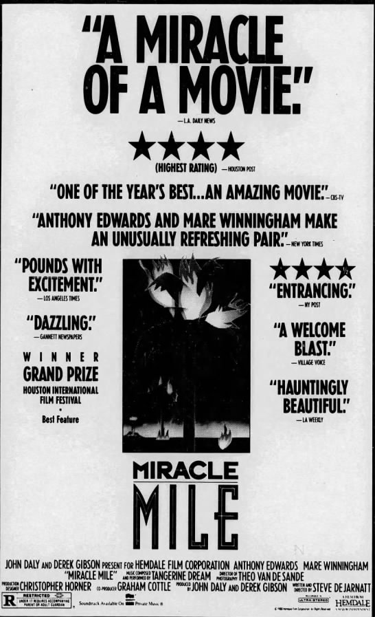 Miracle_Mile_Movie_review_poster_3 - i mm OF AMOVE1 LA. DALY NEWS i -NEW YOK TIMES...