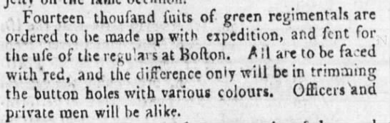 1775 Green Coats to be made up for Troops at Boston -
