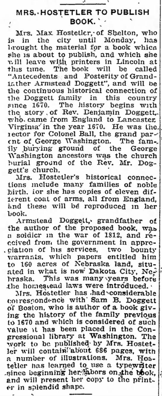 Doggett, Cary Armstead; in book; The Lincoln Star, Feb. 27, 1916, Sun pg 17 -