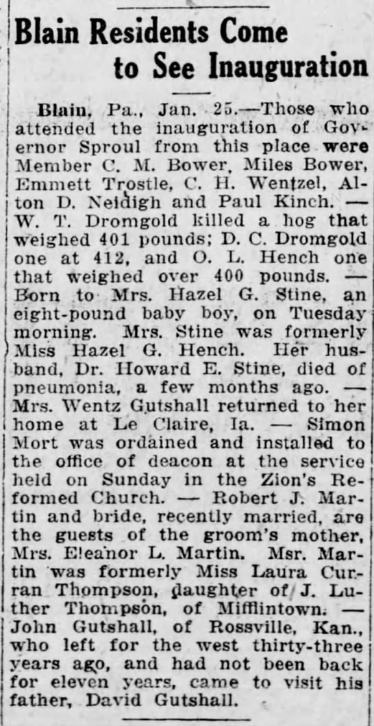 1919 J Luther Thompson of Mifflintown's dau Laura Curran Thompson Martin is new bride -