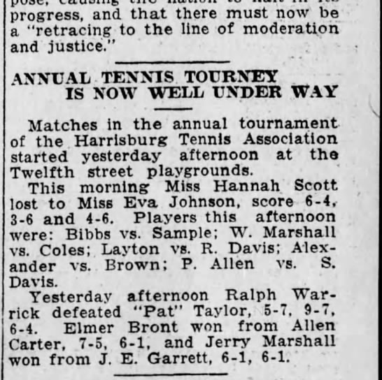 1915 Harrisburg Tennis Association - progress, and that there must now be - a...
