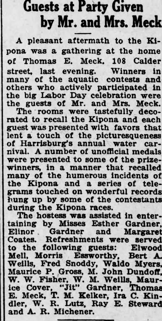 Esther Gardner and Jit Gardner guests at party, Sept 1920, Harrisburg, Pennsylvania. - Guests at Party Given by Mr. and Mrs. Meek A...