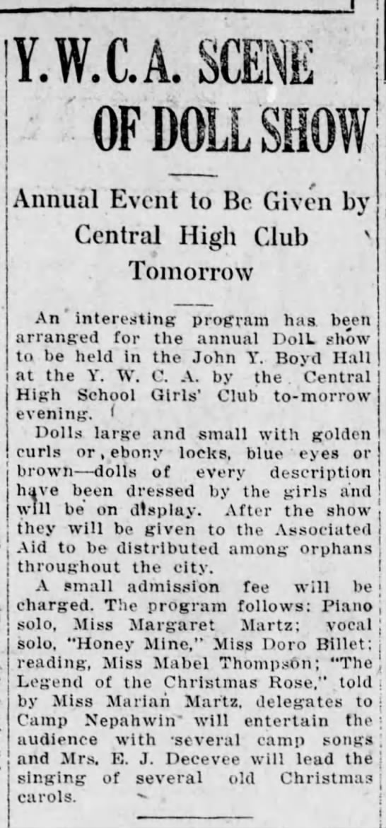 1918 Miss Mabel Thompson does rdg at YWCA doll show -
