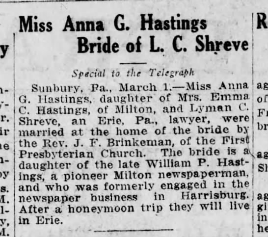Hastings-Shreve wedding, Harrisburg Telegraph, 1 March, 1916, p. 2. -