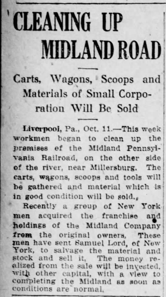 Midland RR equipment to be sold. NY investors to complete RR asap. 1918 -