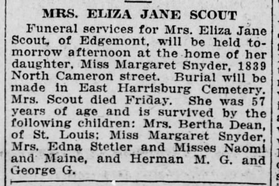 Eliza Jane Scout, obituary, Jan 15, 1917 -