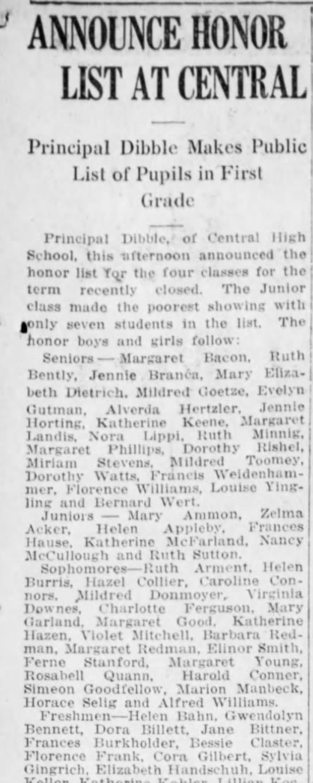 Gwendolyn Bennett Freshman at Central H.S Harrisburg, Pa 1917 -