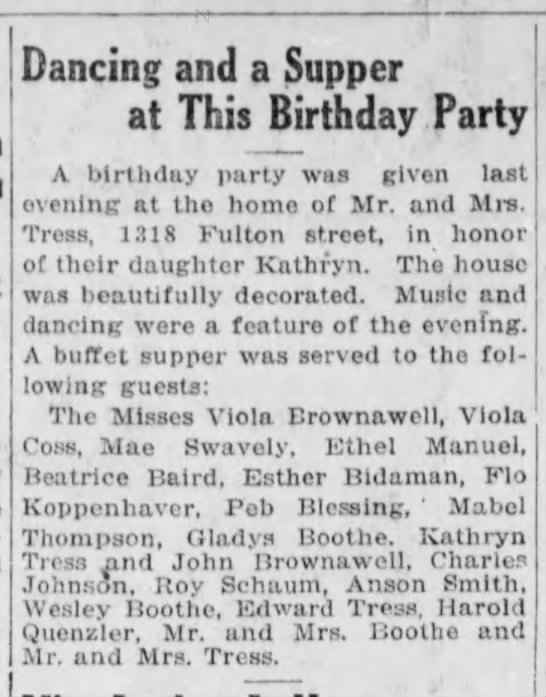 1917 Mabel Thompson guests at bday party for Miss Kathryn Tress -